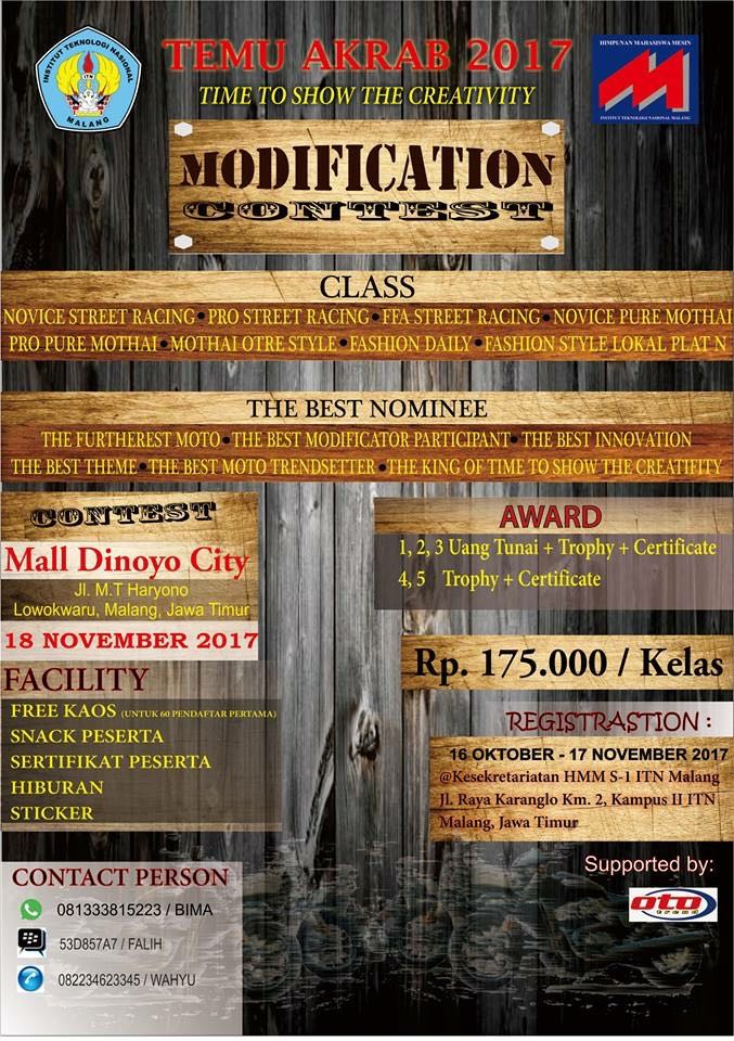 """""""Time To Show The Creativity"""" 2017, ITN Malang Kembali Gelar Modification Contest Sepeda Motor"""
