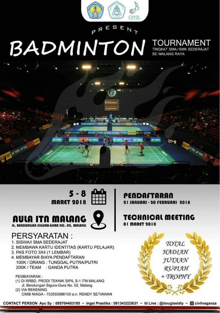 Turnamen Badminton Civil Vaganza 2018